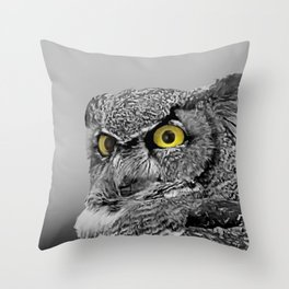 Contemporary Black & White Great Horned Owl Bird Yellow eye Art A515 Throw Pillow