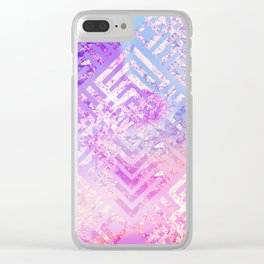 Holographic Glam - Geometric Pattern on Holo Effect Background Clear iPhone Case
