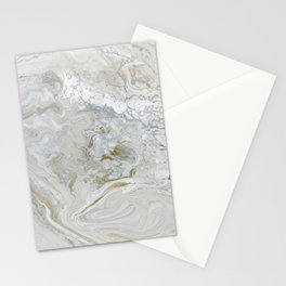 Marbled Castle - Elegant Abstract in Silver, White, and Gold Stationery Cards