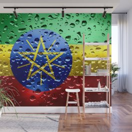 Flag of Ethiopia - Raindrops Wall Mural