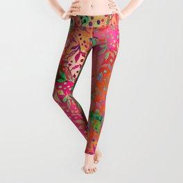 Tropical Summer colorful botanical pattern Leggings