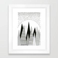 Moonlight Forest (pen on paper) Framed Art Print