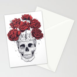 Skull with peonies Stationery Cards