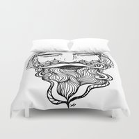 beard Duvet Covers featuring Beard  by Holly Harper