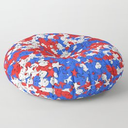 Red blue white sad frogs Pepe and stars Floor Pillow