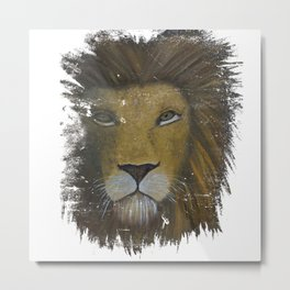 Distressed Lion Metal Print