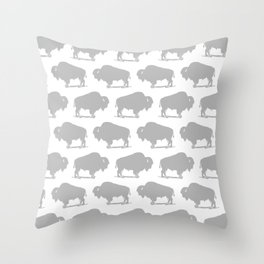Buffalo Bison Pattern 268 Grey Throw Pillow