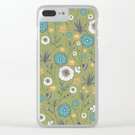Emma_Wildflowers in Avocado Green Clear iPhone Case