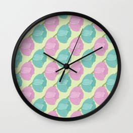 Purple and teal tulips on a mint green background Wall Clock