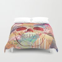 camp Duvet Covers featuring Cheerleader Camp by Orlberos Skull Designs