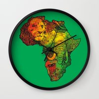 africa Wall Clocks featuring Africa by RicoMambo