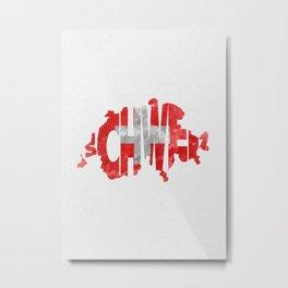 Schweiz / Switzerland Typographic Flag / Map Art Metal Print