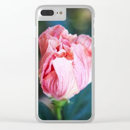 Jane Cowl Tropical Hibiscus Petals Unfurling Clear iPhone Case