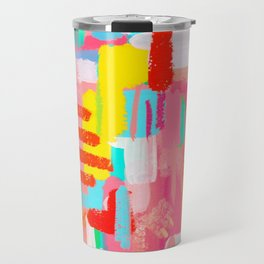 Abstract Expressionism Colorful Painting Modern Contemporary - Those Crucial Three Words Travel Mug
