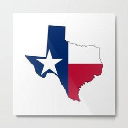 Texas Map Outline and Flag Metal Print
