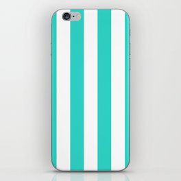 Vertical Stripes - White and Turquoise iPhone Skin