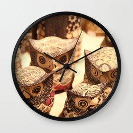 wooden owl figurines Wall Clock