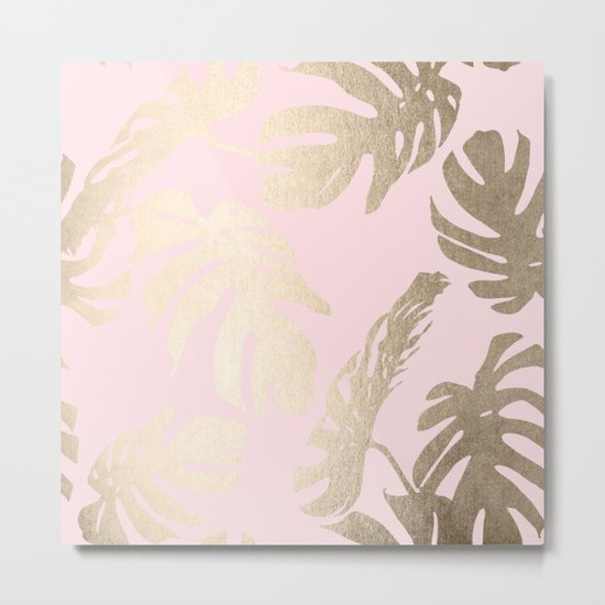 Simply Tropical Palm Leaves White Gold Sands on Flamingo Pink Metal Print