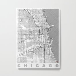 Chicago Map Line Metal Print