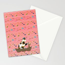 Captain Cat in pink Stationery Cards