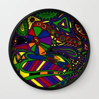 psychadelic Wall Clocks featuring Psychadelic by Groolya