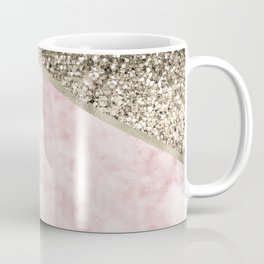 Shimmering golden chevron pink marble Coffee Mug