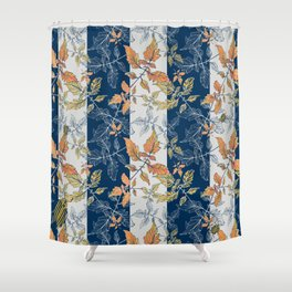 Tomatoes leaves in coral and blue stripes Pantone palette Shower Curtain