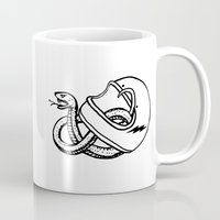 grease Mugs featuring vipera b/w by The Junkers
