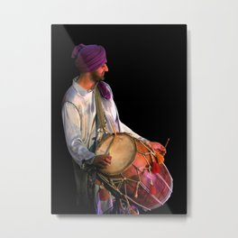 Dhol Drummer in traditional Punjabi dress Metal Print