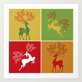 Christmas Deer (red & green) Art Print
