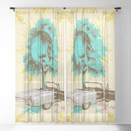 SKULL DRIVER Sheer Curtain