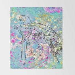 Two Parrots with Frangipani Throw Blanket