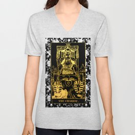 A Floral Tarot Print - The Chariot Unisex V-Neck