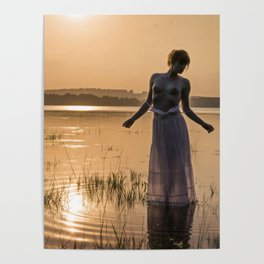 Topless Female Model At Sunset Poster