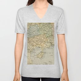 Vintage Map of The South Of China Unisex V-Neck