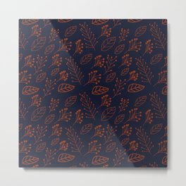 Rust leaves and branches on dark blue Metal Print
