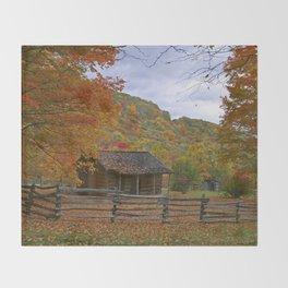 Log Cabin in Autumn Throw Blanket