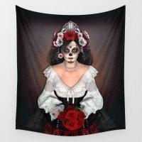 dia de los muertos Wall Tapestries featuring Dia de los Muertos by Digital Curiosity Designs