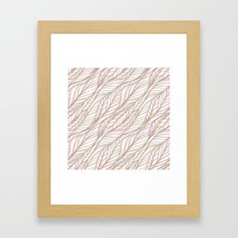 Woven Pink and Green Leaves Framed Art Print