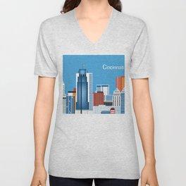Cincinnati, Ohio - Skyline Illustration by Loose Petals Unisex V-Neck