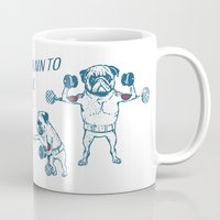 workout Mugs featuring Pug Workout by Huebucket