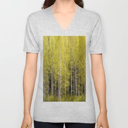 Lovely spring atmosphere - vibrant green leaves on the trees - beautiful birch grove Unisex V-Neck
