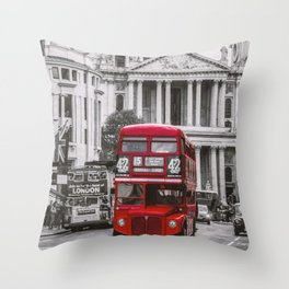 London Classic Bus Throw Pillow