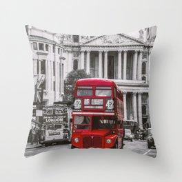 London Classic Bus Throw Pillow