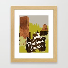 White Stag Sign, Portland Oregon Framed Art Print