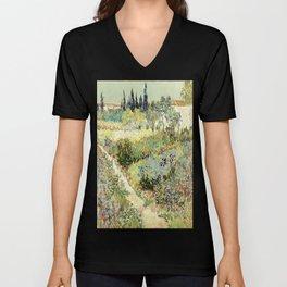 Vincent Van Gogh : Garden at Arles Unisex V-Neck