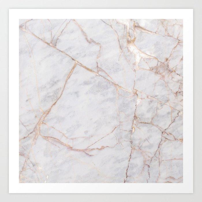 White Italian Marble & Gold Kunstdrucke