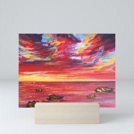 Enchanting Red Seas Impressionist Painting Mini Art Print