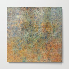 Blue and Copper Abstract Metal Print