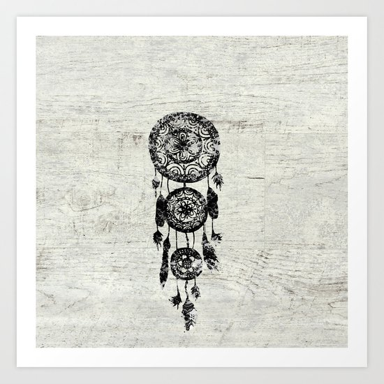 Hipster Lace black dreamcatcher on white wood Art Print
